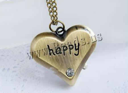 Buy Fashion Watch Necklace Zinc Alloy Glass Heart word happy antique bronze color plated twist oval chain & brushed & rhinestone nickel lead & cadmium free 36x33x10.50mm Length:Approx 31 Inch 10Strands/Lot Sold Lot