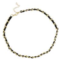 Kette Woven Halskette, Eisen, mit Wollschnur, mit Verlängerungskettchen von 7cm, goldfarben plattiert, Twist oval, frei von Nickel, Blei & Kadmium, 8x12x2mm, Länge:ca. 17 ZollInch, 20SträngeStrang/Tasche, verkauft von Tasche
