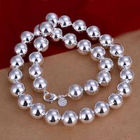 comeon® Schmuck Halskette, Messing, rund, versilbert, Kugelkette, frei von Nickel, Blei & Kadmium, 14mm, verkauft per ca. 22 ZollInch Strang