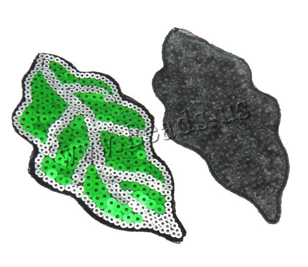Buy Sewing-on Patch Cloth Plastic Sequin Leaf mixed colors 62x116x1mm 99PCs/Bag Sold Bag