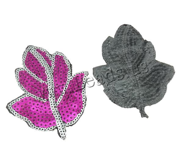 Buy Sewing-on Patch Cloth Plastic Sequin Leaf mixed colors 73x97x1mm 99PCs/Bag Sold Bag