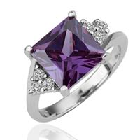 comeon® Finger-Ring, Messing, platiniert, verschiedene Größen vorhanden & mit kubischem Zirkonia, frei von Nickel und Blei, 11x19mm, verkauft von PC