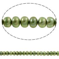 Button kultivierte Süßwasserperlen, Natürliche kultivierte Süßwasserperlen, Knopf, grün, 6-7mm, Bohrung:ca. 0.8mm, verkauft per ca. 15.3 ZollInch Strang