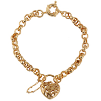 Gets® Schmuck Armband, Messing, Herz, 18 K vergoldet, Rolo Kette & hohl, frei von Nickel, Blei & Kadmium, 19mm, 7mm, verkauft per ca. 9.5 ZollInch Strang
