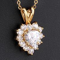 Gets® Schmuck Halskette, Messing, Herz, 18 K vergoldet, Oval-Kette & mit kubischem Zirkonia, frei von Nickel, Blei & Kadmium, 15x23mm, verkauft per ca. 17.5 ZollInch Strang