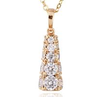 Gets® Schmuck Halskette, Messing, Turm, 18 K vergoldet, Oval-Kette & mit kubischem Zirkonia, frei von Nickel, Blei & Kadmium, 10x26mm, verkauft per ca. 17.5 ZollInch Strang