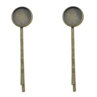 Haarklammer Zubehör, Messing, flache Runde, antike Bronzefarbe plattiert, frei von Nickel, Blei & Kadmium, 14x55mm, Innendurchmesser:ca. 12mm, 300PCs/Menge, verkauft von Menge