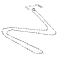 Halskette, Edelstahl, mit Verlängerungskettchen von 2lnch, unterschiedliche Länge der Wahl & Oval-Kette, originale Farbe, 2x1.50x0.40mm, 100SträngeStrang/Menge, verkauft von Menge