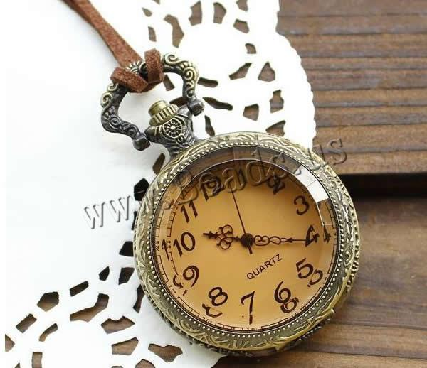 Buy Fashion Watch Necklace Zinc Alloy Velveteen Cord & Glass Flat Round antique bronze color plated brushed nickel lead & cadmium free 50mm Length:Approx 31 Inch 10Strands/Lot Sold Lot