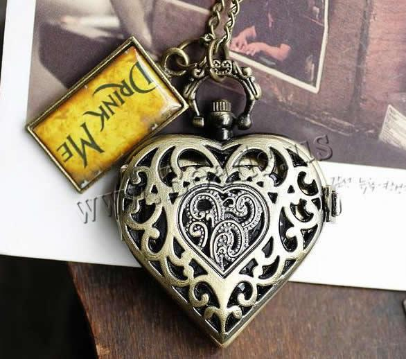 Buy Fashion Watch Necklace Zinc Alloy iron chain & Glass Heart antique bronze color plated twist oval chain & letter pattern & brushed & epoxy sticker nickel lead & cadmium free 38x26mm Length:Approx 31 Inch 5Strands/Lot Sold Lot