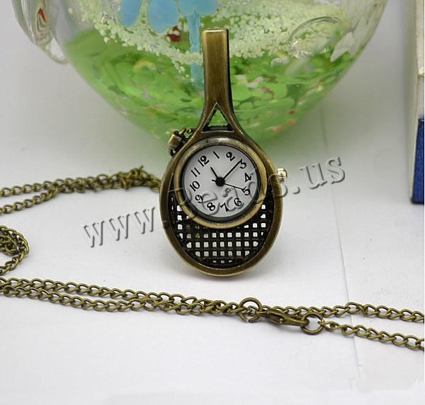 Buy Fashion Watch Necklace Zinc Alloy Glass Tennis Racket antique bronze color plated twist oval chain nickel lead & cadmium free 16mm Length:Approx 32.1 Inch 2 Sold Lot