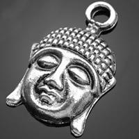 Buddhische Schmuck Anhänger, Zinklegierung, Buddha, antik silberfarben plattiert, buddhistischer Schmuck, frei von Nickel, Blei & Kadmium, 14x21.60mm, Bohrung:ca. 1-3mm, 1000PCs/Tasche, verkauft von Tasche