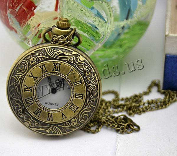 Buy Fashion Watch Necklace Zinc Alloy Glass Flat Round antique bronze color plated twist oval chain nickel lead & cadmium free 45mm Length:Approx 32.1 Inch 1 Sold Lot