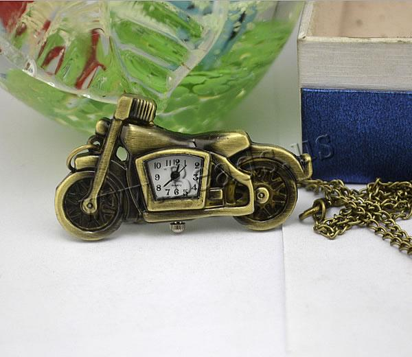 Buy Fashion Watch Necklace Zinc Alloy Glass Motorcycle antique bronze color plated twist oval chain nickel lead & cadmium free 16mm Length:Approx 32.1 Inch 2 Sold Lot