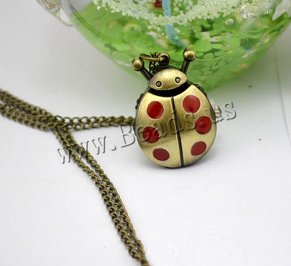 Fashion Watch Necklace Zinc Alloy Glass Ladybug antique bronze color plated twist oval chain & enamel nickel lead & cadmium free 16mm Length:Approx 32.1 Inch 2 Sold Lot