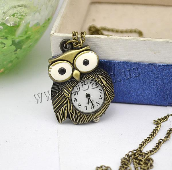 Buy Fashion Watch Necklace Zinc Alloy Glass Owl antique bronze color plated twist oval chain & enamel nickel lead & cadmium free 16mm Length:Approx 32.1 Inch 2 Sold Lot