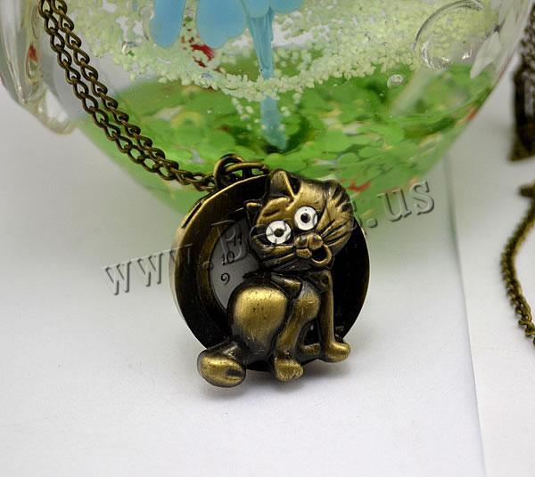 Buy Fashion Watch Necklace Zinc Alloy Glass Cat antique bronze color plated twist oval chain nickel lead & cadmium free 30mm Length:Approx 32.1 Inch 2 Sold Lot