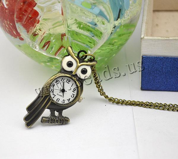 Buy Fashion Watch Necklace Zinc Alloy iron chain & Glass & enamel Owl plated twist oval chain nickel lead & cadmium free 16mm Length:Approx 32.1 Inch 2 Sold Lot