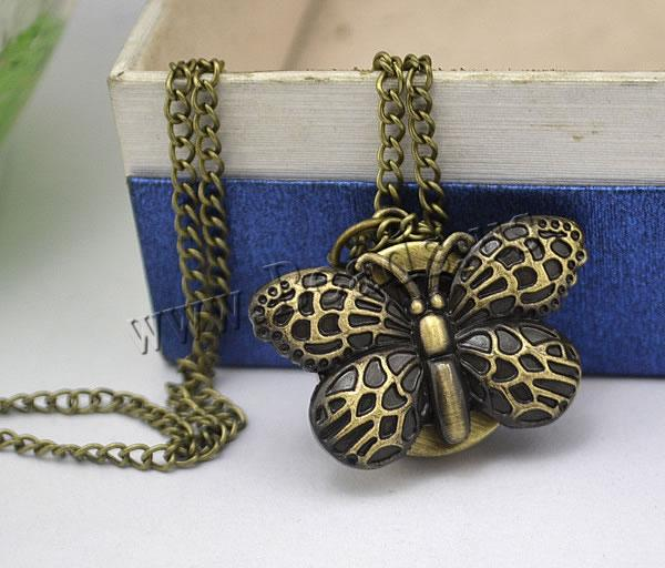 Buy Fashion Watch Necklace Zinc Alloy iron chain & Glass Butterfly plated twist oval chain nickel lead & cadmium free 35.50x29mm Length:Approx 32.1 Inch 2 Sold Lot