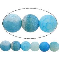 Natürliche Effloresce Achat Perlen, Auswitterung Achat, rund, blau, 10mm, Bohrung:ca. 1mm, Länge:ca. 15 ZollInch, 10SträngeStrang/Menge, verkauft von Menge