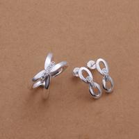 comeon® Schmuck-Set, Fingerring & Ohrring, Messing, versilbert, mit kubischem Zirkonia, frei von Nickel und Blei, 17x6mm, Größe:8, verkauft von setzen