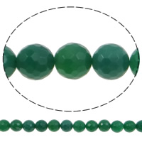 Natürliche grüne Achat Perlen, Grüner Achat, rund, facettierte, 10mm, Bohrung:ca. 1.2mm, ca. 38PCs/Strang, verkauft per ca. 15.3 ZollInch Strang