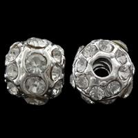 Strass Zinklegierung Perlen, Trommel, silberfarben plattiert, mit Strass, frei von Nickel, Blei & Kadmium, 9x10mm, Bohrung:ca. 3mm, 10PCs/Tasche, verkauft von Tasche
