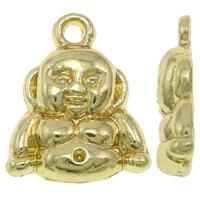 Buddhische Schmuck Anhänger, Zinklegierung, Buddha, vergoldet, hochwertige Beschichtung und nie verblassen, frei von Blei & Kadmium, 13x16x3mm, Bohrung:ca. 2mm, 20PCs/Tasche, verkauft von Tasche