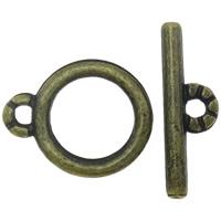 Zinklegierung Knebelverschluss, plattiert, keine, frei von Nickel, Blei & Kadmium, 14x4.5x1mm,12x9x1mm, Bohrung:ca. 1mm, 100SetsSatz/Tasche, verkauft von Tasche