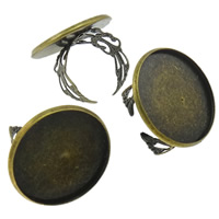 Eisen Ringschiene, flache Runde, antike Bronzefarbe plattiert, offen, frei von Nickel, Blei & Kadmium, 27x2mm, Innendurchmesser:ca. 24mm, Größe:8.5, 100PCs/Tasche, verkauft von Tasche
