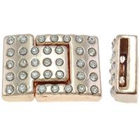 Zinklegierung Magnetverschluss, Rechteck, Rósegold-Farbe plattiert, mit Strass, frei von Nickel, Blei & Kadmium, 24x16x8mm, Bohrung:ca. 2x13mm, 10PCs/Tasche, verkauft von Tasche