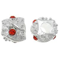 Strass Zinklegierung Perlen, silberfarben plattiert, mit Strass, frei von Nickel, Blei & Kadmium, 8.5x10mm, Bohrung:ca. 3.5mm, 10PCs/Tasche, verkauft von Tasche