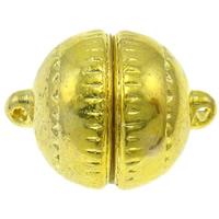 Zinklegierung Magnetverschluss, rund, goldfarben plattiert, Einzelstrang, frei von Nickel, Blei & Kadmium, 20x14mm, Bohrung:ca. 1mm, 10PCs/Tasche, verkauft von Tasche