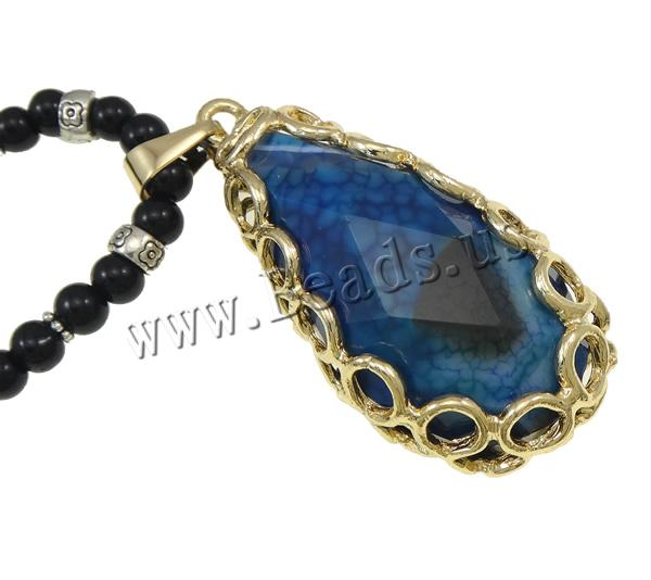 Buy Black Agate Sweater Necklace Blue Agate & Zinc Alloy Teardrop plated 32x72x18mm Length:Approx 29 Inch 10Strands/Bag Sold Bag