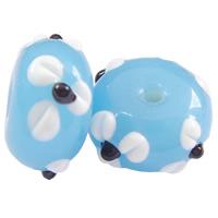 Holprige Lampwork Perlen, Rondell, handgemacht, uneben, himmelblau, 12x8mm, Bohrung:ca. 2mm, 100PCs/Tasche, verkauft von Tasche