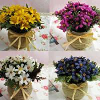Seidenspinnerei Kunstblume, mit Hanfgarn & Kunststoff, Chrysamthemum, gemischte Farben, 20x17cm, 4PCs/Menge, verkauft von Menge