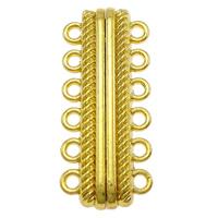 Zinklegierung Magnetverschluss, plattiert, 6-litzig, keine, frei von Nickel, Blei & Kadmium, 14.50x33.50x7mm, Bohrung:ca. 2mm, 10PCs/Tasche, verkauft von Tasche