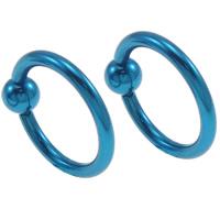 Edelstahl Lippenring, Kreisring, Elektrophorese, blau, 11x10x3mm, verkauft von PC