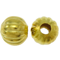 Halloween Schmuck Bead, Eisen, Kürbis, goldfarben plattiert, gewellt, frei von Nickel, Blei & Kadmium, 8x7mm, Bohrung:ca. 3mm, ca. 710PCs/Tasche, verkauft von Tasche