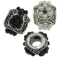 Messing European Perlen, mit Harz, Rondell, antik silberfarben plattiert, ohne troll, keine, frei von Nickel, Blei & Kadmium, 10x12.50mm, Bohrung:ca. 4.5mm, 100PCs/Menge, verkauft von Menge