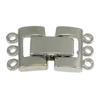 Messing Fold Over Verschluss, Platinfarbe platiniert, 3-Strang, frei von Nickel, Blei & Kadmium, 20mm, 11x9x2.5mm, 10x4.5x4mm, Bohrung:ca. 1mm, 100SetsSatz/Menge, verkauft von Menge