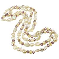 Natürliche kultivierte Süßwasserperlen Pullover Halskette, mit Kristall, Keishi, farbenfroh, 9-20mm, verkauft per ca. 48 ZollInch Strang
