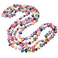 Süßwasserperlen Pullover Halskette, Natürliche kultivierte Süßwasserperlen, mit Glas-Rocailles, Barock, farbenfroh, 7-10mm, verkauft per ca. 59.5 ZollInch Strang