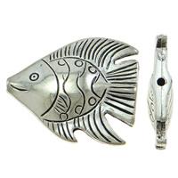 Verkupfertes Kunststoff-Perlen, Verkupferter Kunststoff, Fisch, antik silberfarben plattiert, frei von Blei & Kadmium, 38x31x8mm, Bohrung:ca. 1.5mm, 30PCs/Tasche, verkauft von Tasche