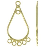 925 Sterling Silber Ohranhänger Zubehör, Tropfen, vergoldet, 1/5-Schleife, 12x26x1mm, Bohrung:ca. 2mm, verkauft von Paar
