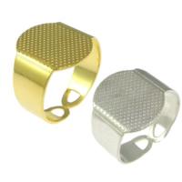 Messing einstellbare Fingerringe, plattiert, keine, frei von Blei & Kadmium, 15mm, Bohrung:ca. 4x10mm, Größe:7, 200PCs/Menge, verkauft von Menge