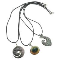 Süßwassermuschel Halskette, mit Lederband, Messing Karabinerverschluss, mit Verlängerungskettchen von 4.5cm, natürlich, gemischt, 25-30mm, Länge:ca. 16 ZollInch, 12SträngeStrang/Box, verkauft von Box