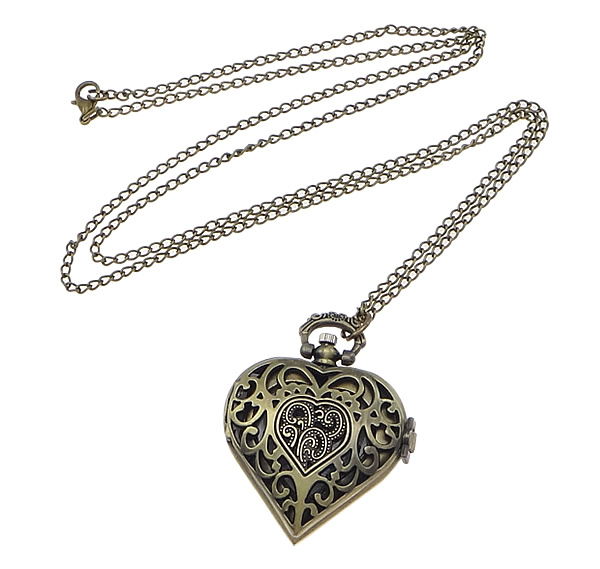 Buy Fashion Watch Necklace Zinc Alloy Heart antique bronze color plated twist oval chain nickel lead & cadmium free 41.5mm Length:32.1 Inch 1 Sold Lot