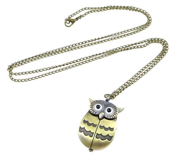 Buy Fashion Watch Necklace Zinc Alloy Glass Owl antique bronze color plated twist oval chain nickel lead & cadmium free 41.5mm Length:33 Inch 2 Sold Lot