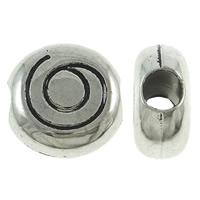 Verkupferter Kunststoff Großes Loch Perlen, flache Runde, antik silberfarben plattiert, frei von Blei & Kadmium, 18x9mm, Bohrung:ca. 6mm, 50PCs/Tasche, verkauft von Tasche